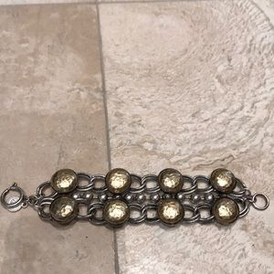 Matte Gold And Silver beaded Bracelet